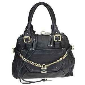 CHLOE Logo Paddington Shoulder Bag Leather Black